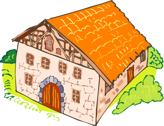 Old stones stone house. Medieval clipart hut free library