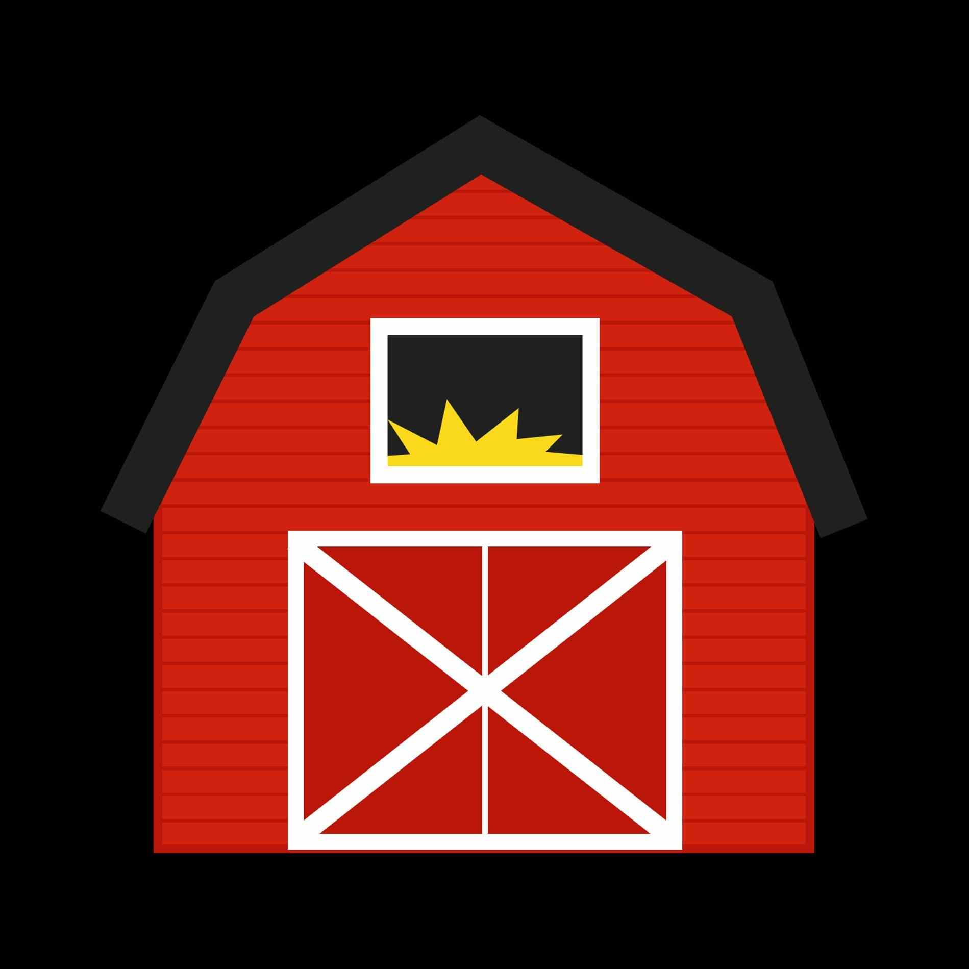 Farmhouse clipart. Cute farm with barn