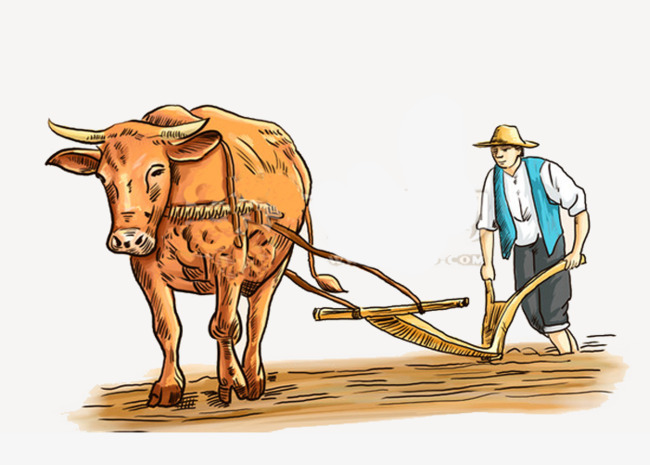Farming clipart. Farmer buffalo farmland old