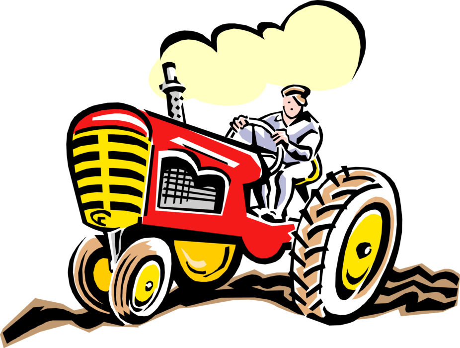 Farming clipart farm equipment. Farmer rides tractor vector