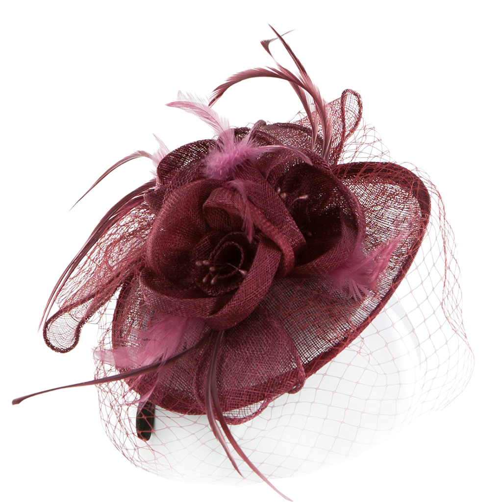 Fascinator clip. Feather and mesh decorated