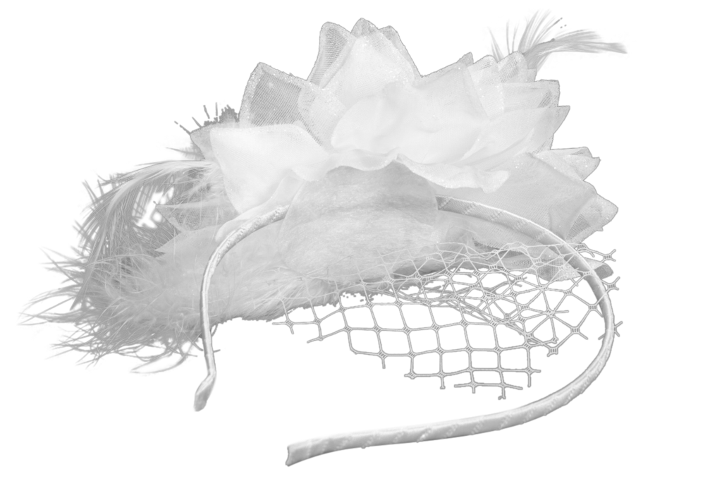 Fascinator clip small. White feather for diner