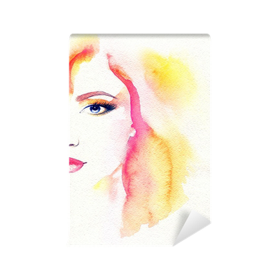 Fashion abstract background png. Woman portrait watercolor wall