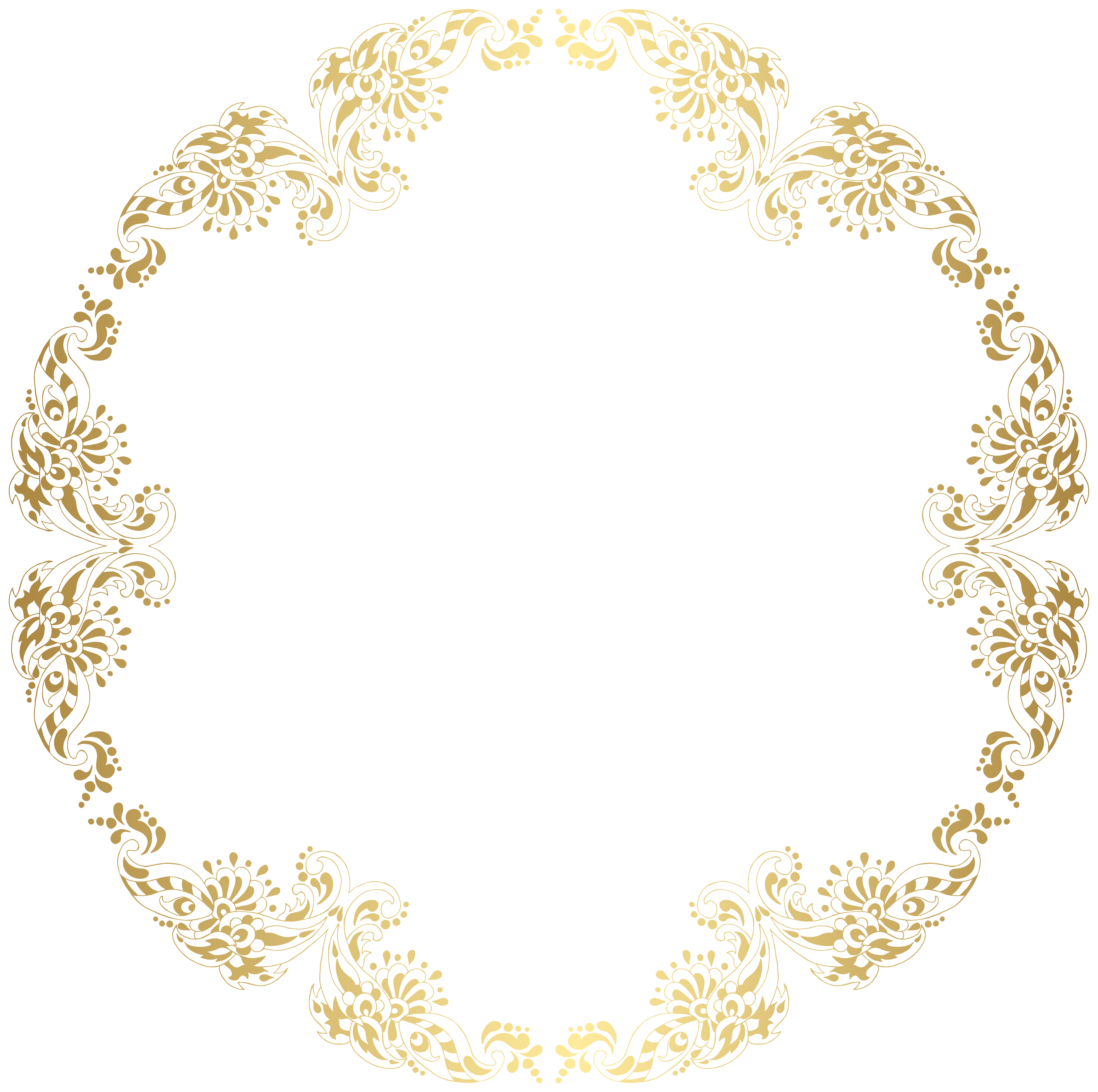 Fashion border png. Floral gold round transparent