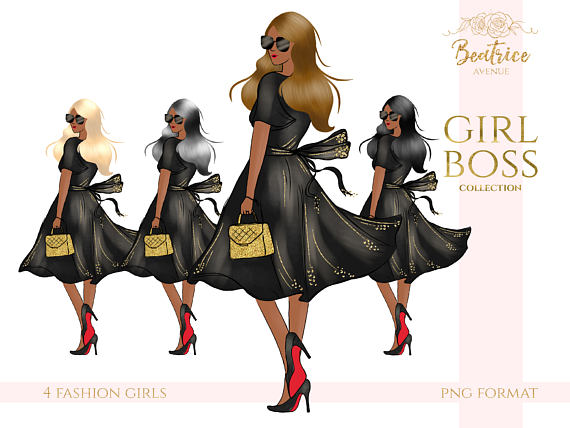 Fashion clipart. African american girl boss