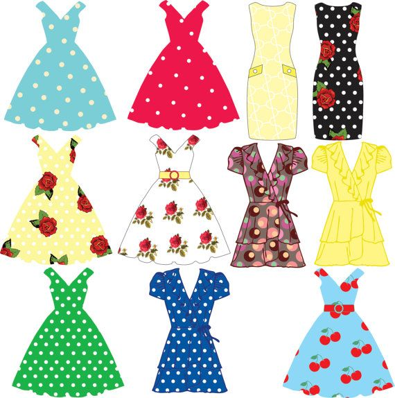 Fashion clipart dress. Tea party dresses bunting