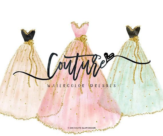 Fashion clipart dress. Watercolor dresses couture