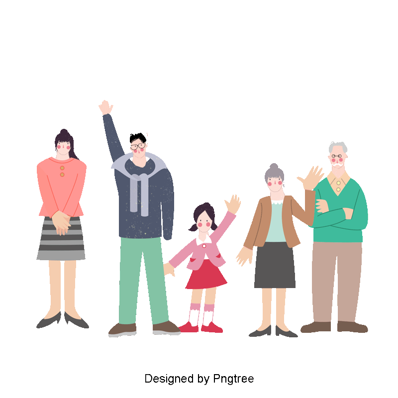 Fashion clipart family. Happy vector people illustration