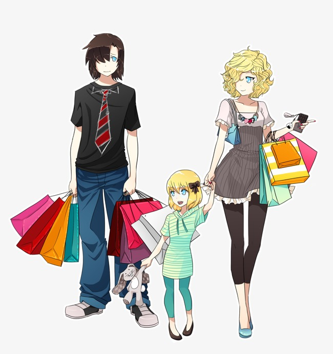 Fashion clipart family. Shopping cartoon hand painted
