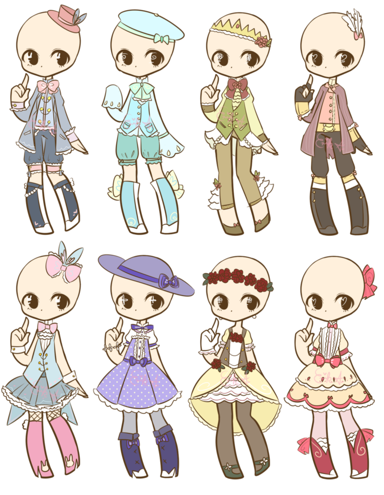 Fashion clipart fashion drawing. Easter themed outfits closed