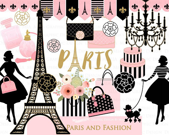 Fashion clipart fashion paris. Clip art digital paper
