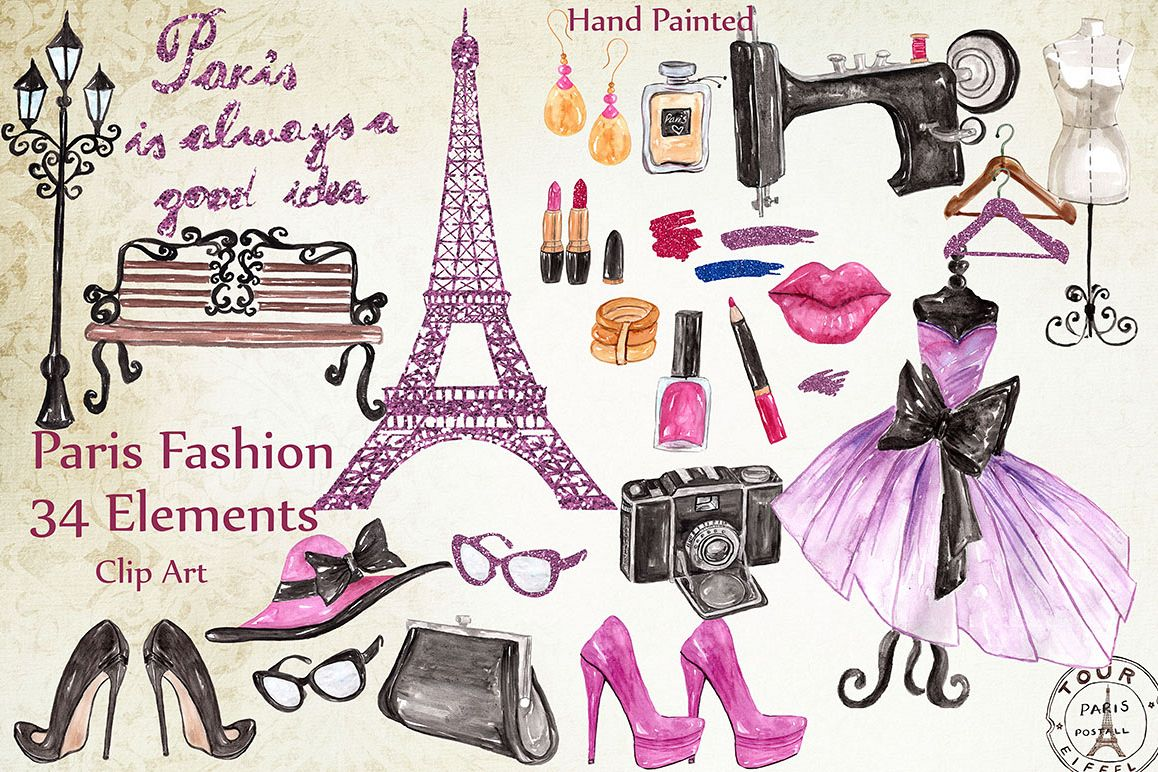 Fashion clipart fashion paris. By lecoqdesign design bundles