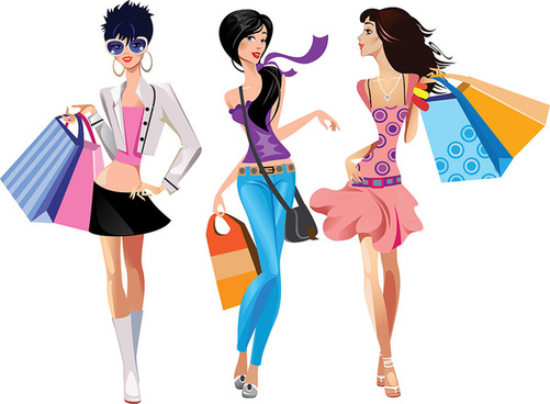 Fashion clipart shopper. Shopping girls clip art