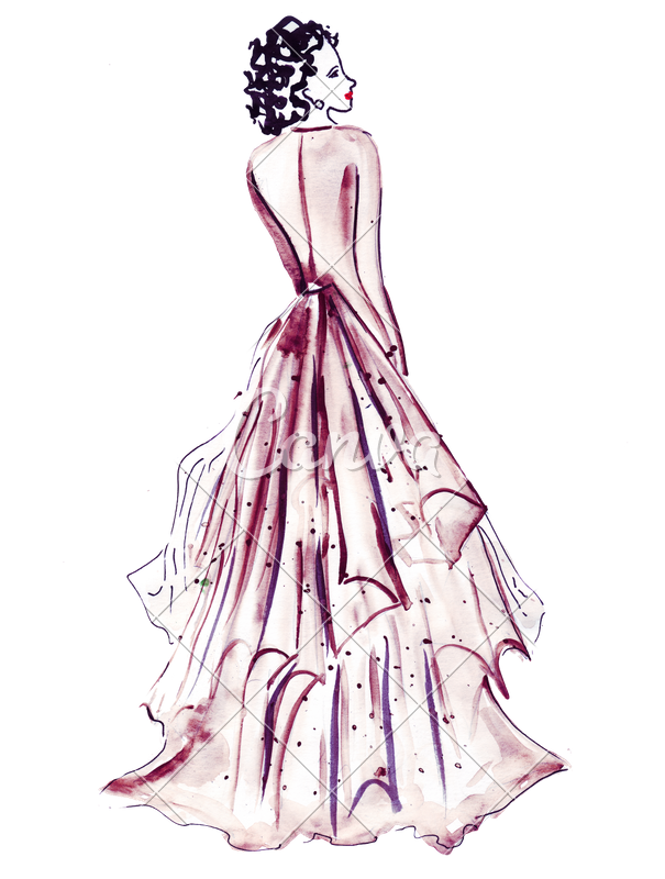 Costume drawing design. Hand draw of female