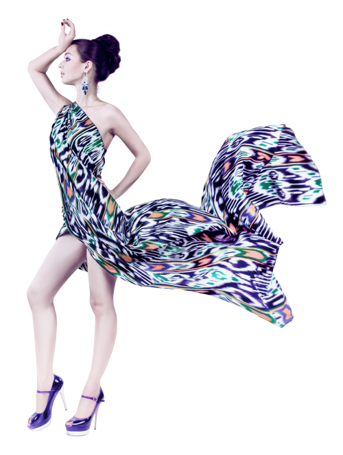Young woman in flying. Fashion dress png vector download