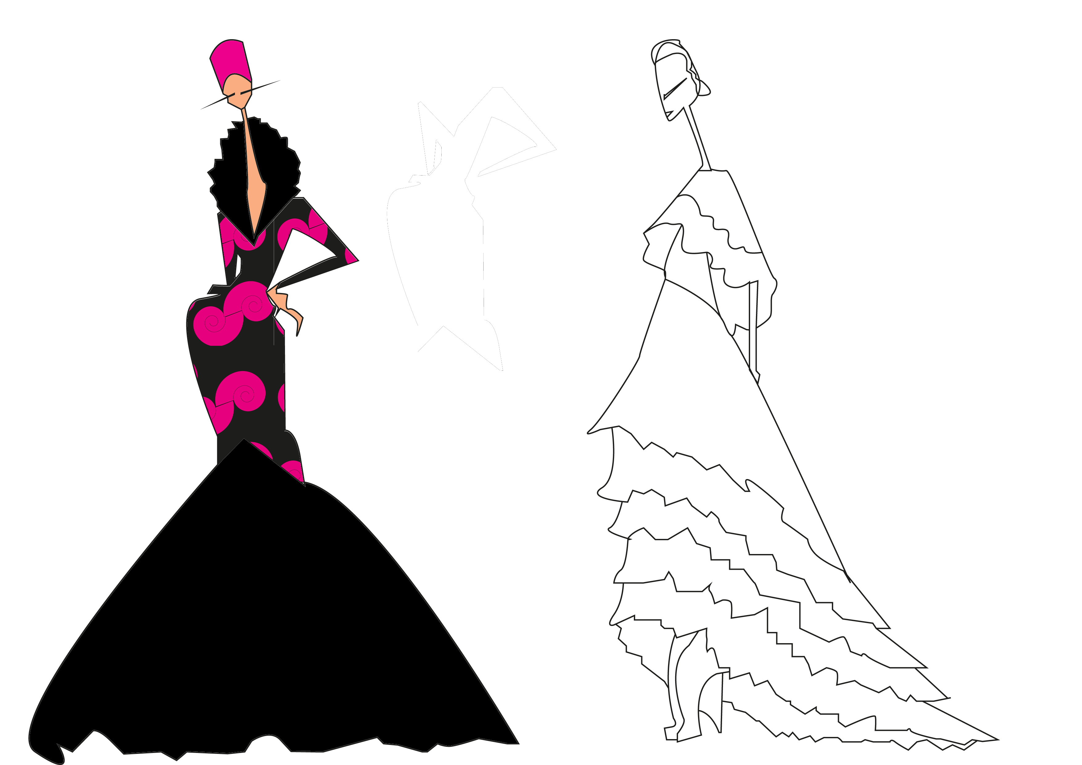 Fashion figure png. Art deco inspired cad