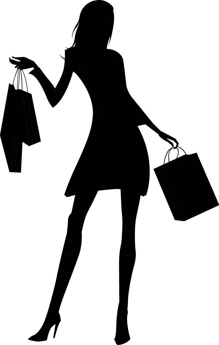 Shop vector silhouette. Woman shopping fashion girl