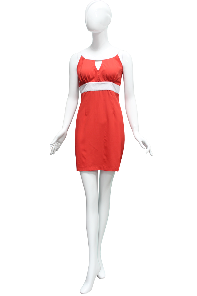 Fashion mannequin with clothes png. Red empire waist dress