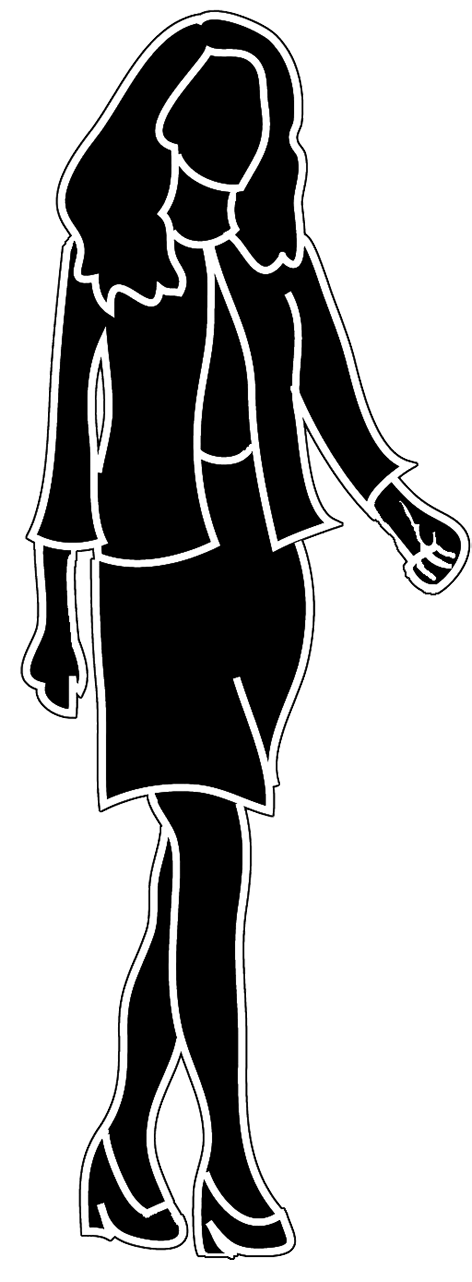 Fashionista drawing business woman. Female silhouette