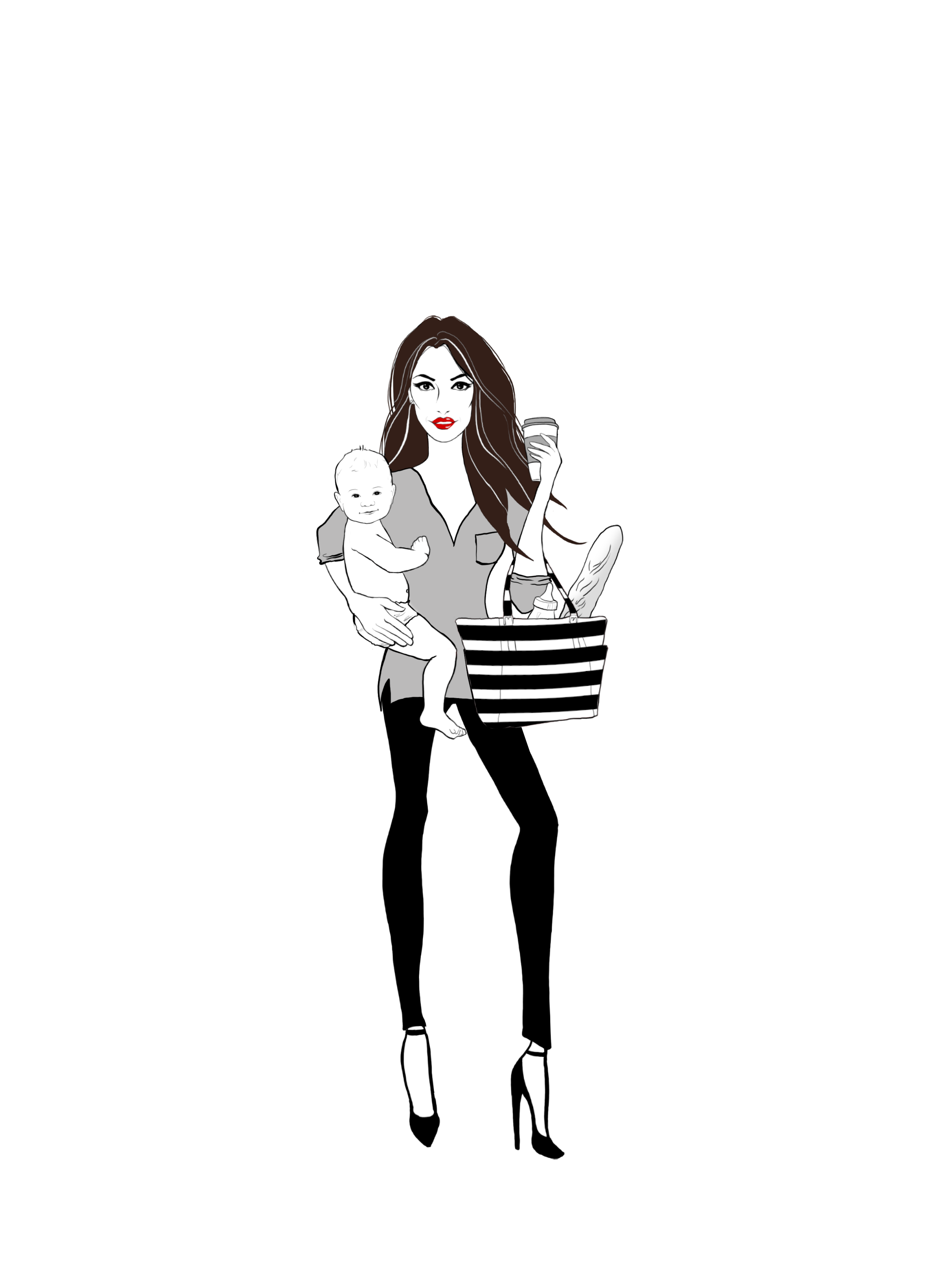 Fashionista drawing fancy. Baby clothing products travel