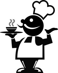 Fat clipart easy food. Chef holding a serving