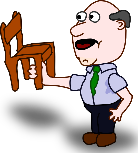 Fat clipart large man. Fatman holding a chair