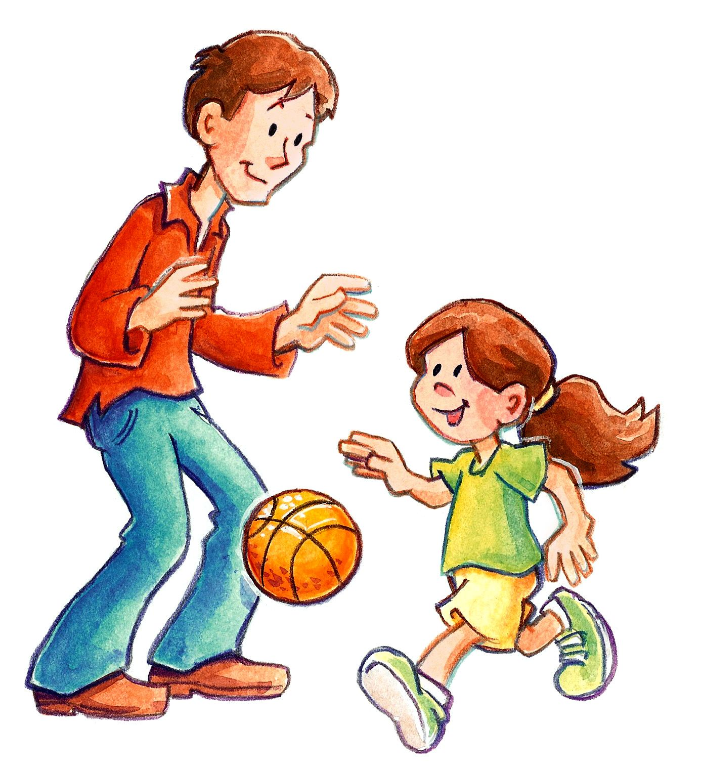 Father clipart basketball. Art sam ples daughter