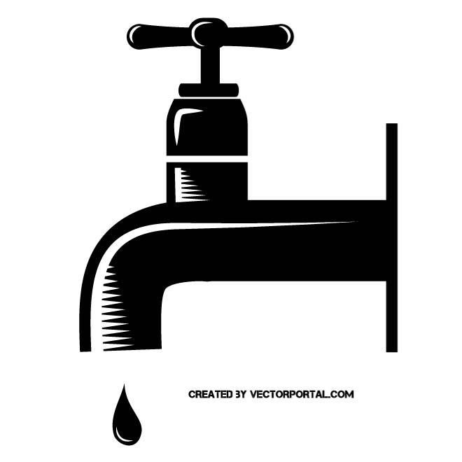 Faucet clipart water spout. Tap monochrome vector illustration