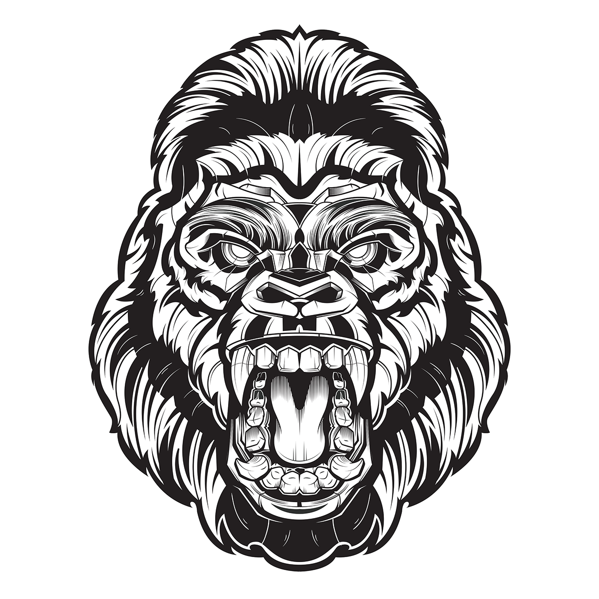 Drawing gorilla face. Apex on behance second