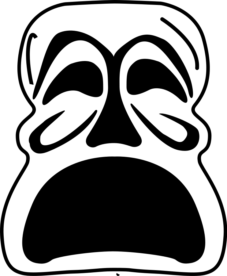 Fear clipart sad. Mask afraid svg vector
