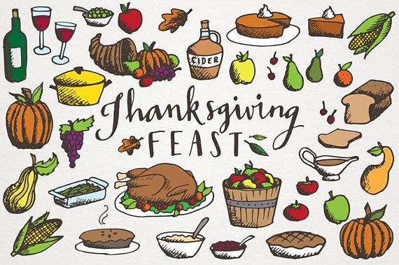 Feast clipart. Thanksgiving hand drawn illustrations