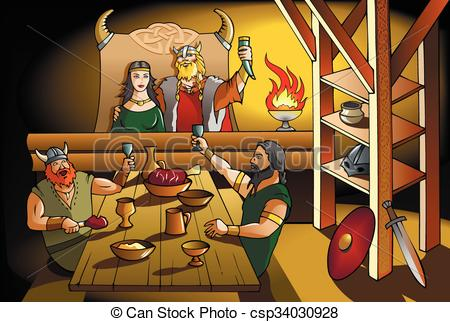 Feast clipart. Vikings king and queen jpg transparent