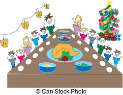 Feast clipart meal. Christmas dinner illustrations and jpg freeuse stock