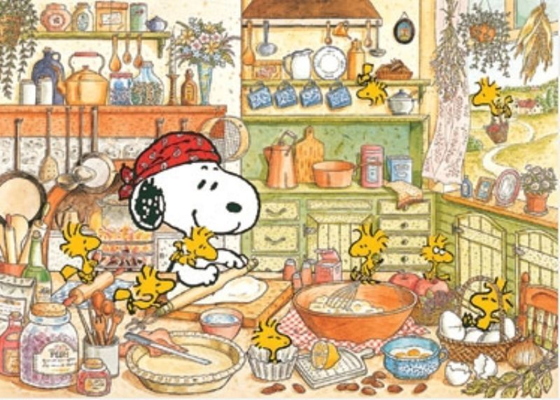 Feast clipart peanuts. Snoopy and woodstock cooking