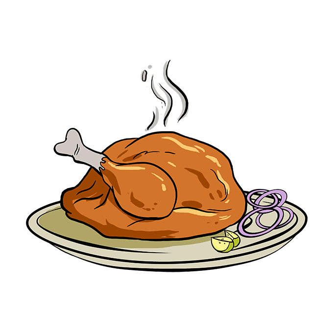 Drawing turkey cooked. How to draw a