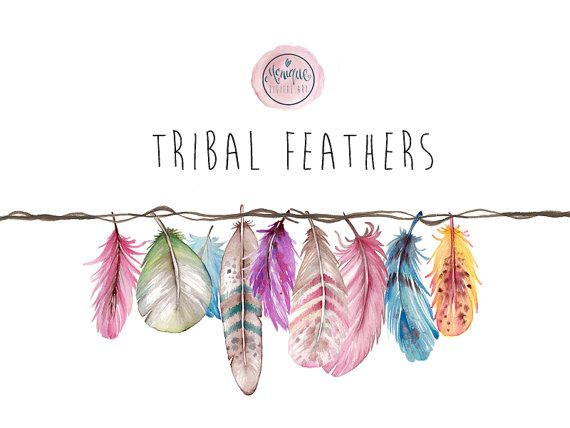 Feather clipart boho. Feathers watercolor tribal bright