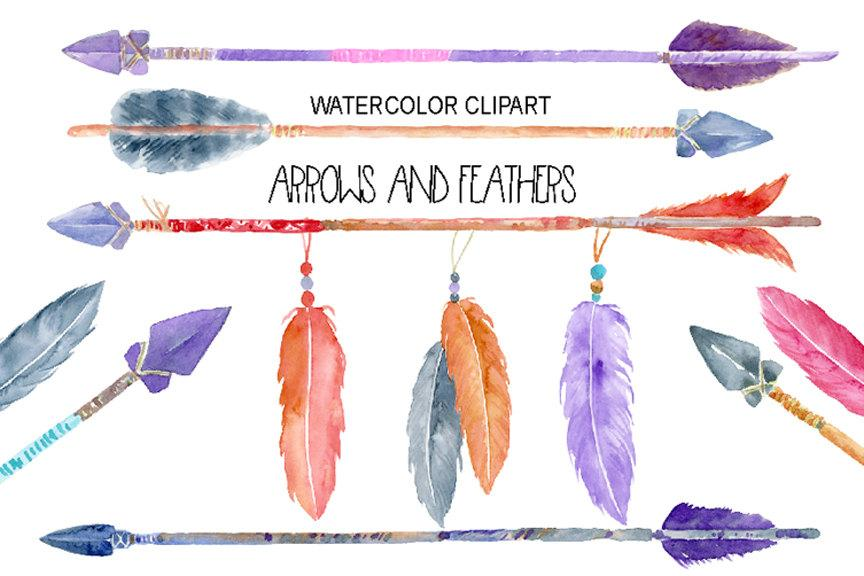 Feather clipart boho. Watercolor native indian arrows