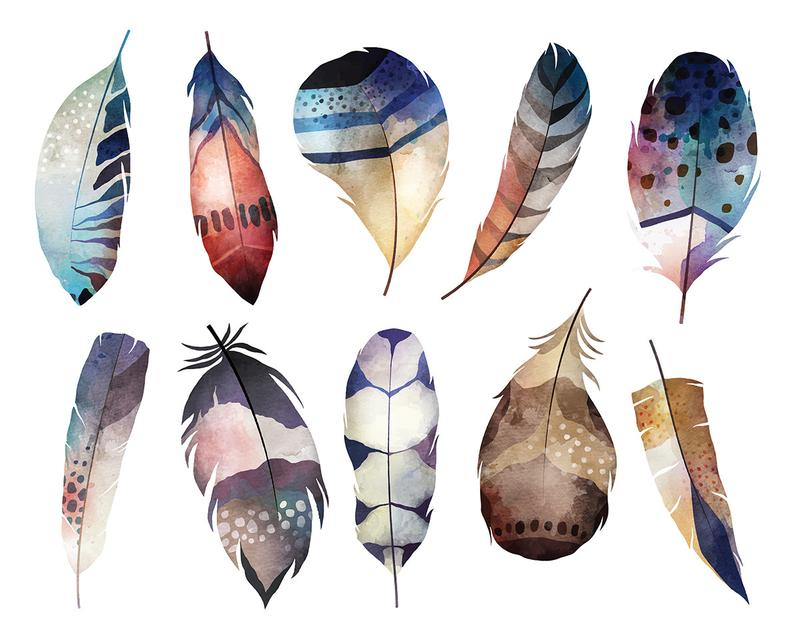 Feather clipart boho. Watercolor feathers digital clip