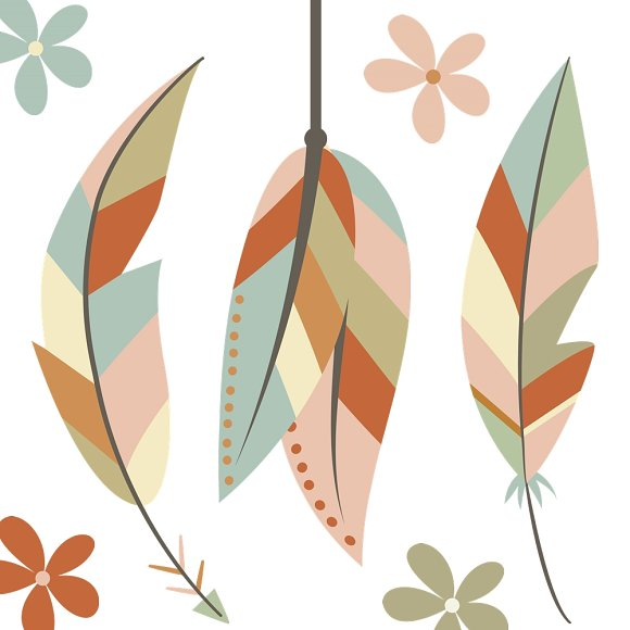 Feather clipart boho. Skull set illustrations creative