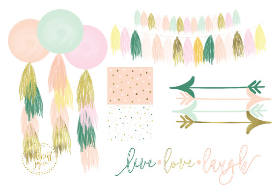 Feather clipart garland. Watercolor boho tassels