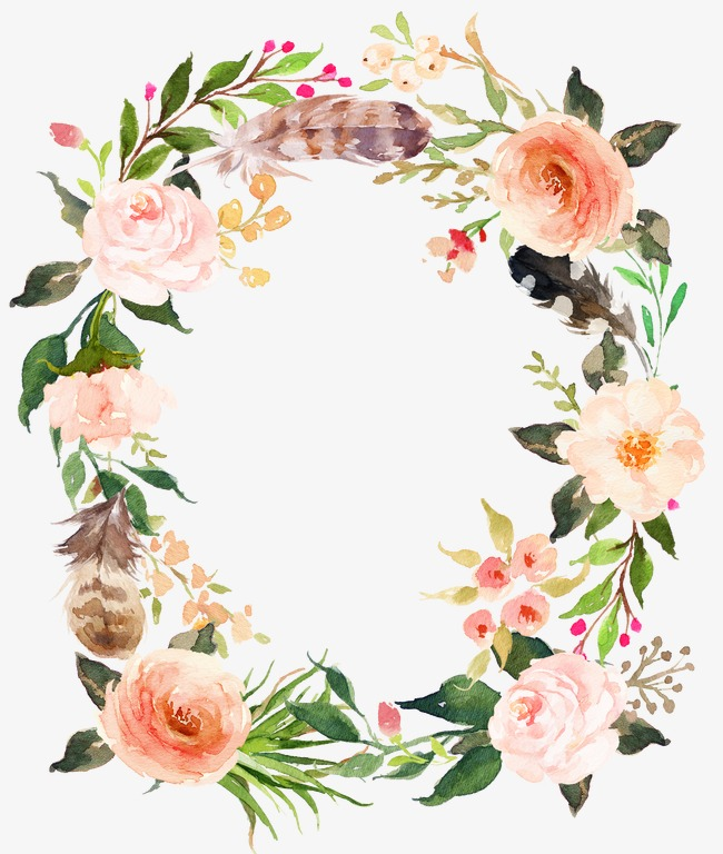 Feather clipart garland. Fresh pink flowers watercolor