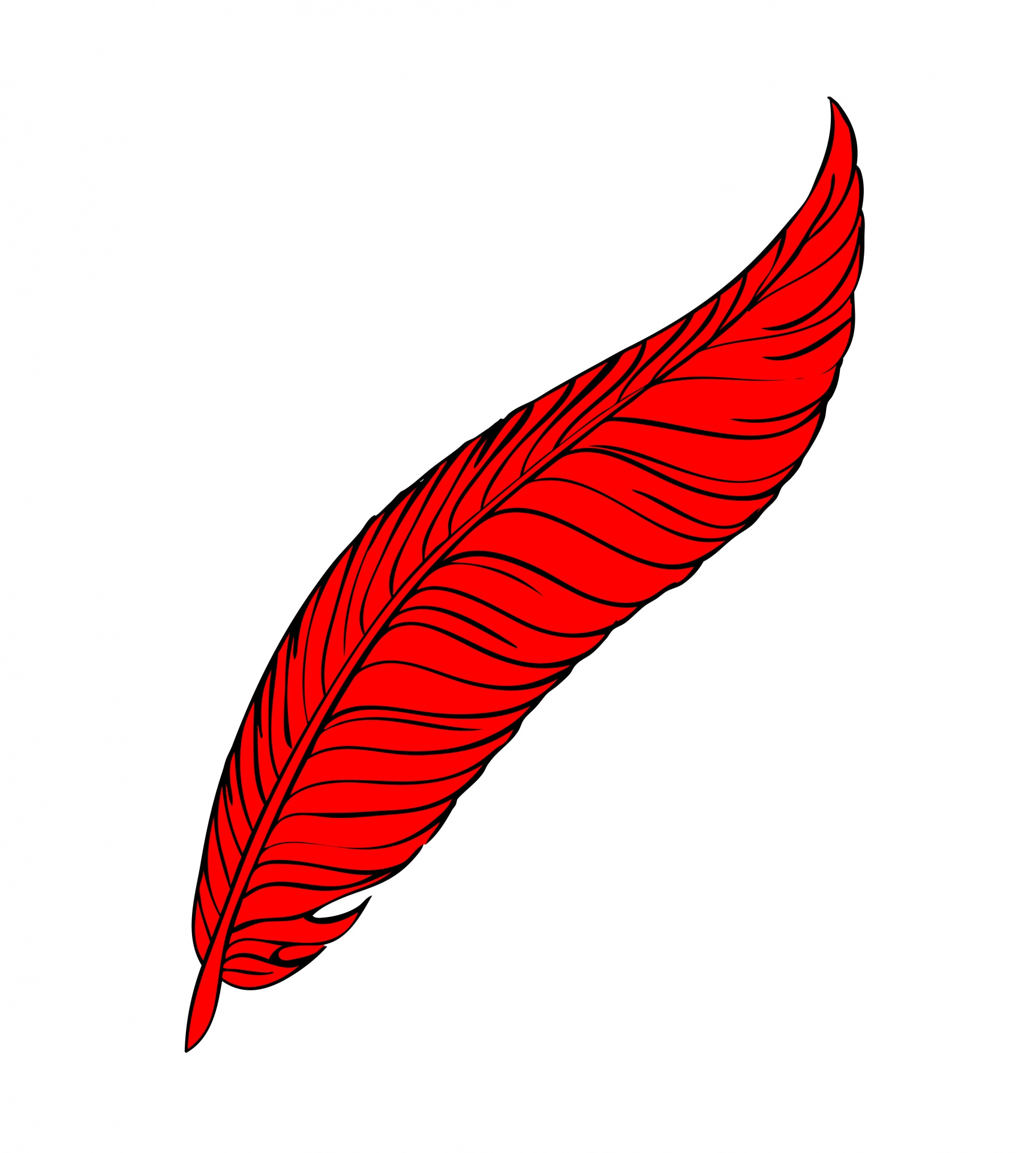 Feather clipart logo. Red line art free