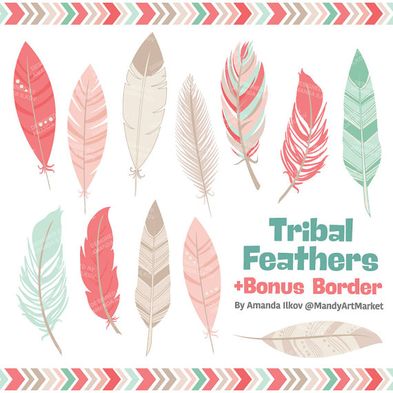 Feather clipart logo. Professional tribal feathers vectors