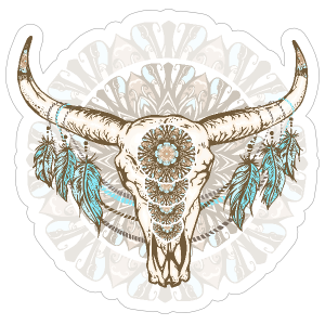 Feather clipart mandala. Skull with feathers and