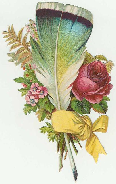 Feather clipart victorian. And flowers with yellow