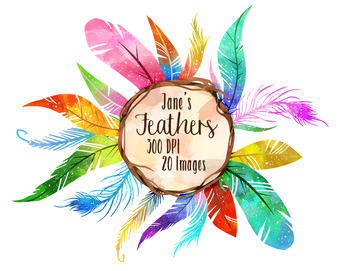 Feathers clipart. Watercolor rainbow by digitalartsi