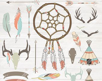 Feathers clipart hipster. Tribal digital dream catcher