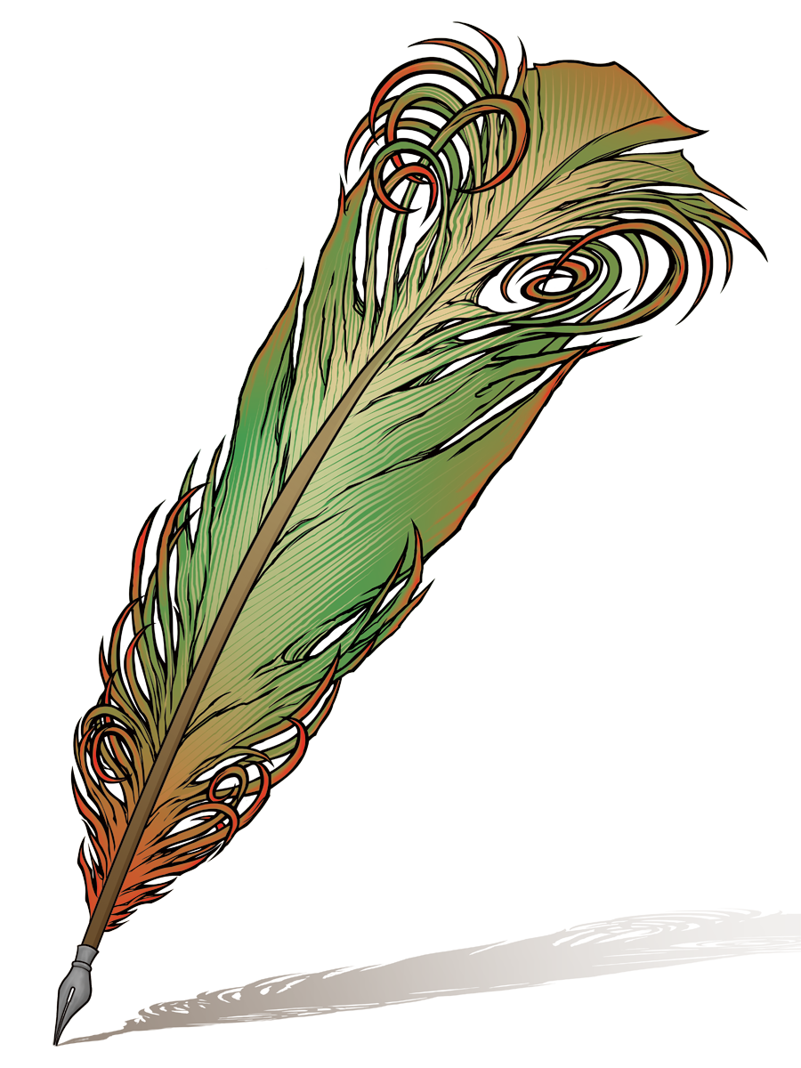 Vector pens quill. Feather ink pen clipart