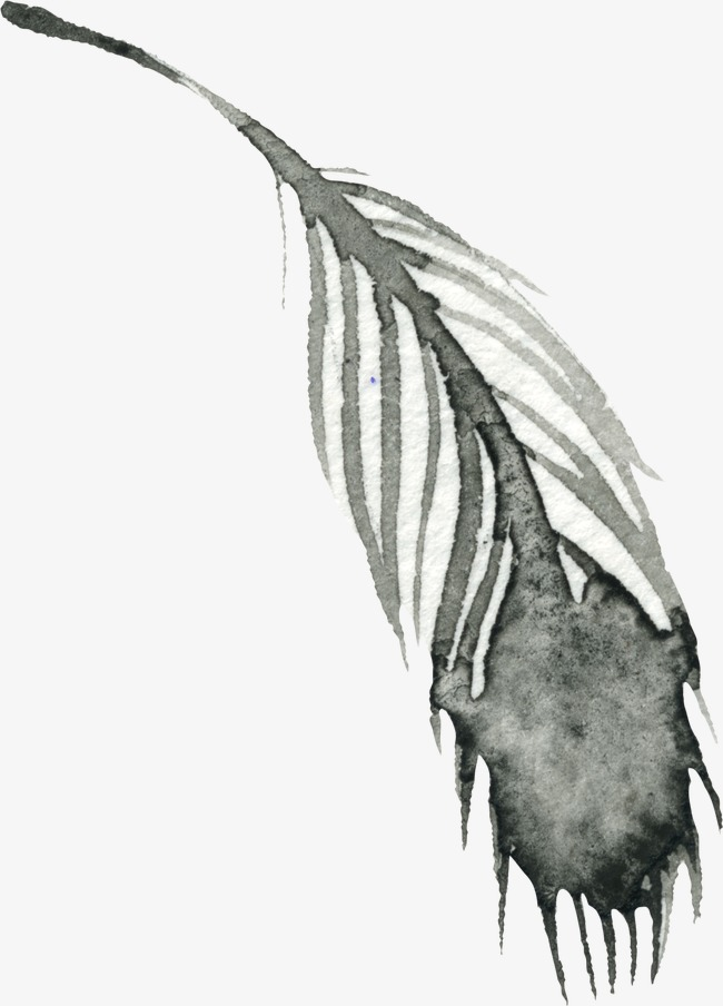 Feathers clipart ink. Feather hand painted black