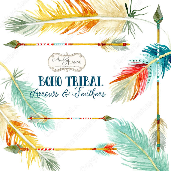 Feathers clipart western. Watercolor boho tribal arrows